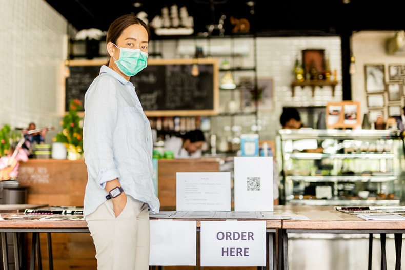 Cafe owner during Coronavirus pandemic